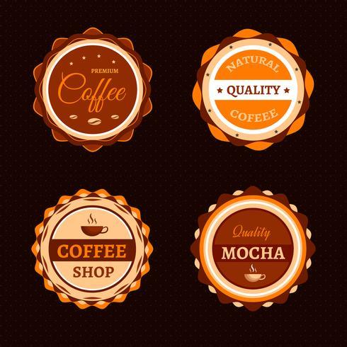Koffieetiketten en badges vector