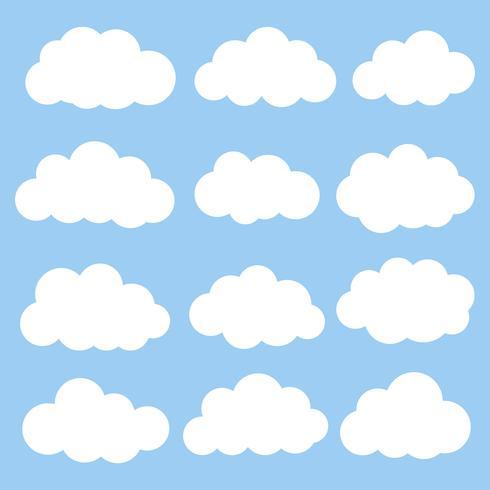 Witte vastgestelde kleur van het wolken de vectorpictogram op blauwe achtergrond. vector