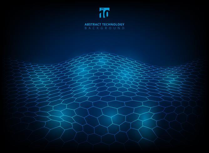 Abstracte futuristische digitale achtergrond van de technologie hexagon patroon glanzende gloed. vector