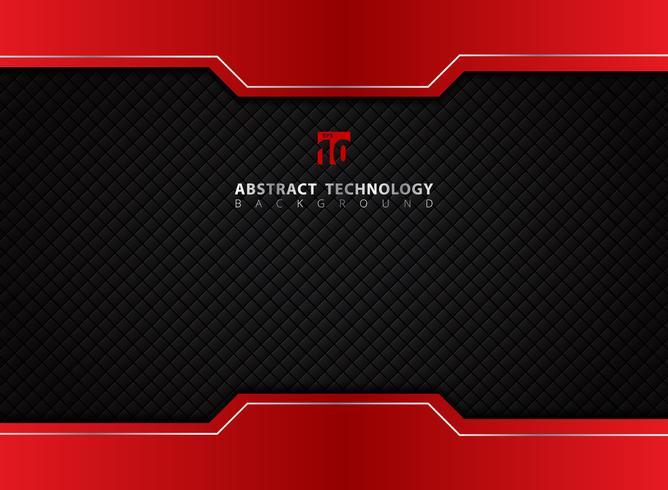 Sjabloon rood en zwart contrast abstracte technische achtergrond. vector