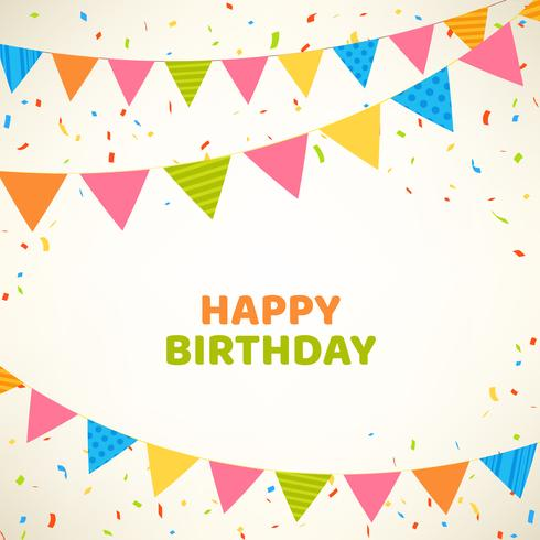 Gelukkige verjaardagskaart met kleurrijke vlaggen en confetti vector