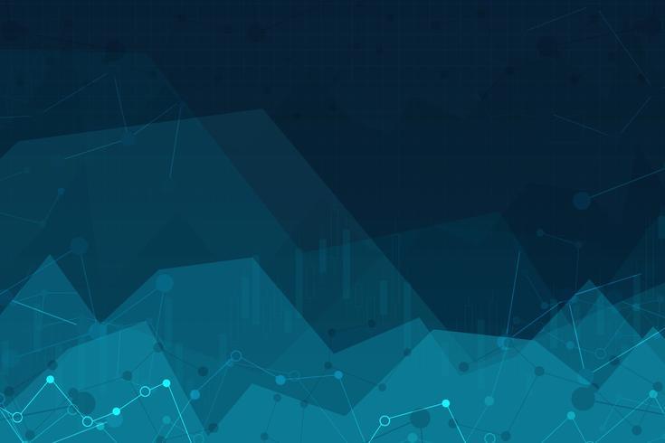 Vector illustratie van een abstracte achtergrond met grafieken. grafiek van de handel in effectenbeurzen.