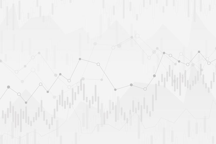 abstracte financiële grafiek met uptrend lijngrafiek en aantallen in effectenbeurs op gradiënt witte kleurenachtergrond vector