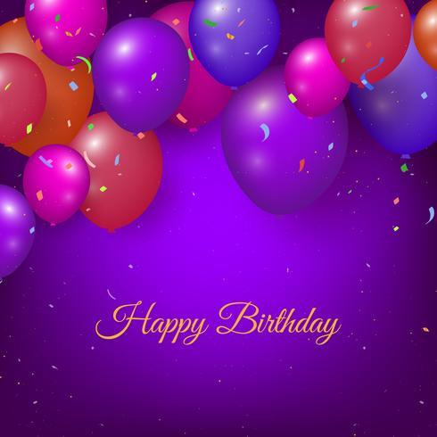 Realistische gelukkige verjaardag achtergrond met ballonnen en confetti vector
