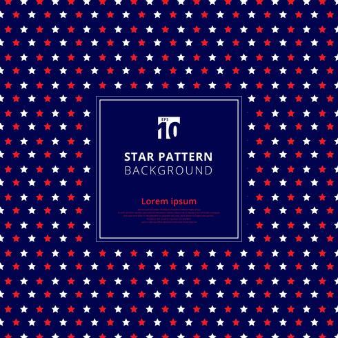 Abstract rood en wit sterpatroon op blauwe achtergrond, Amerikaanse vlag. vector