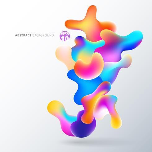 Abstracte vloeibare kleurrijke bubbels vormen overlappen op witte achtergrond. vector