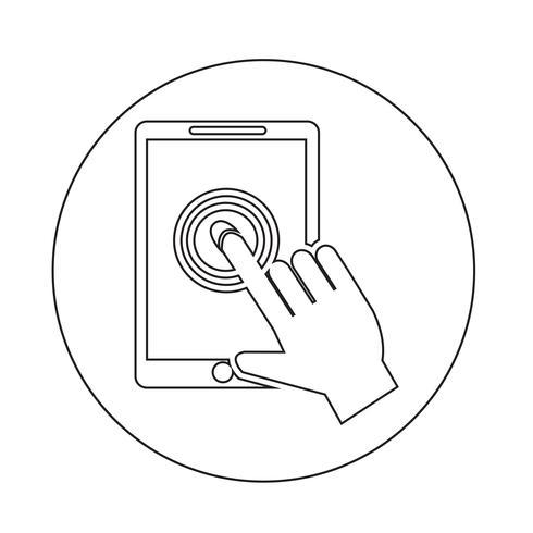 Smartphone touchscreen pictogram vector