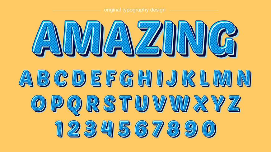 Blauwe cartoon typografie vector