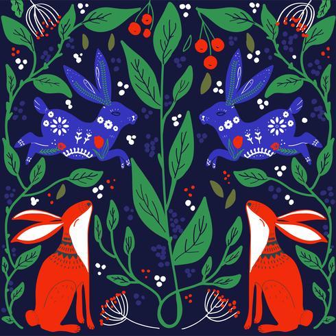 Scandinavisch volkskunst printbaar patroon met konijntjes en bloemen vector