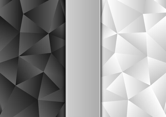 Zwart-witte kleurenveelhoek abstract modern ontwerp als achtergrond, Vectorillustratie met exemplaarruimte vector