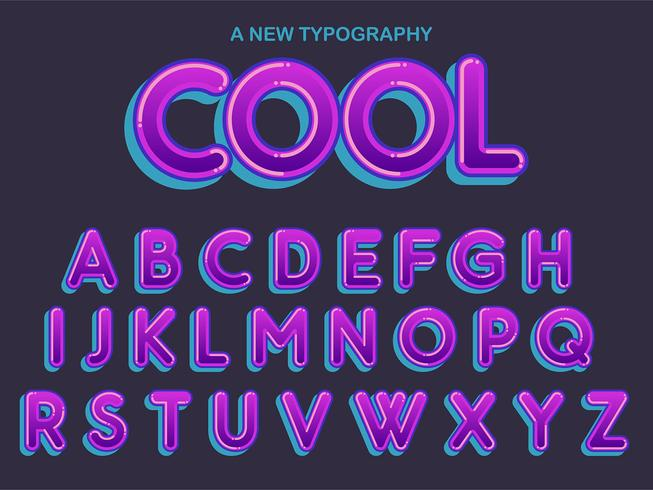 Paarse afgeronde komische typografie vector