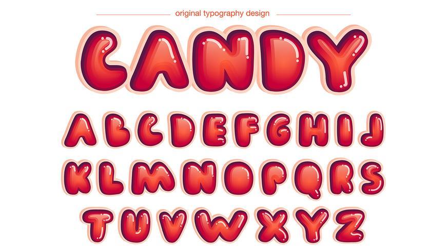 Rode afgeronde striptypografie vector