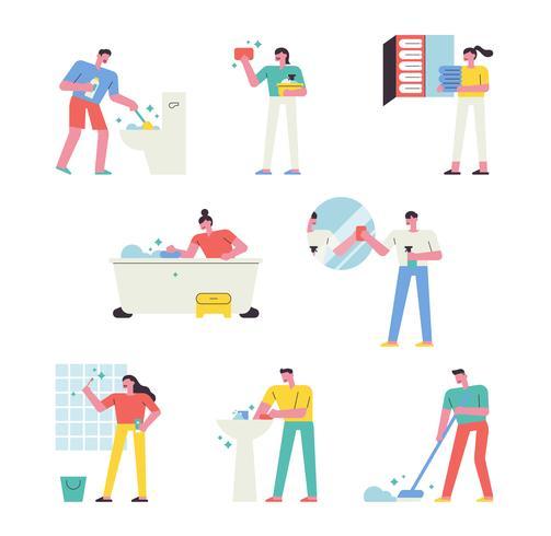 Mensen die het huis schoonmaken. vector