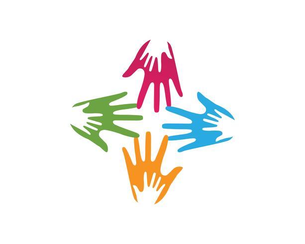 Hand team vrienden gemeenschapslogo en symbolen vector