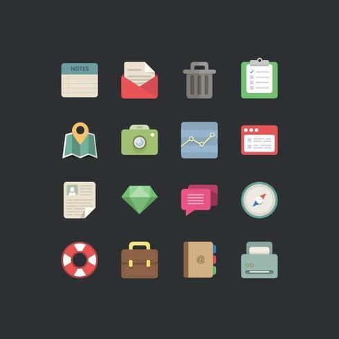 Platte Designer Business Icons Set vector