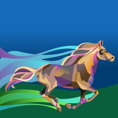 Rennend paard in stijl van het poligonal geometrische patroon vector