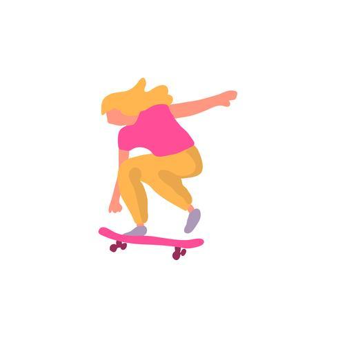 Stijlvolle skater in jeans en sneakers. Skateboard. Vector illustratie voor een briefkaart of een poster, afdrukken voor kleding. Straatculturen.