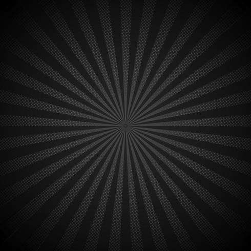 Absrtract retro glanzende starburst zwarte achtergrond met halftone stijl van de puntenpatroon. Uitstekende stralenachtergrond, grappige boom ,. Cartoon popart sjabloon. vector