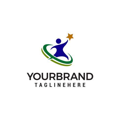 mensen ster logo ontwerp concept sjabloon vector