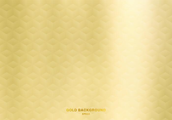 3D-realistische kubussen patroon geometrische symmetrie goud kleurovergang kleur achtergrond en textuur. Luxe stijl. vector