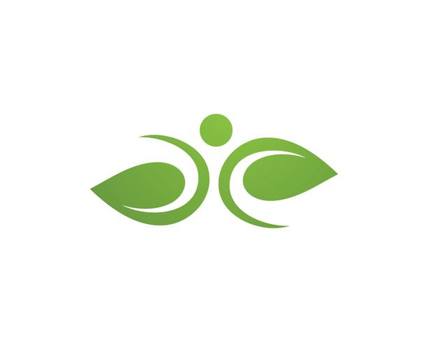 Menselijk karakter logo teken, gezondheidszorg logo. Natuur logo teken. Groen leven logo teken vector