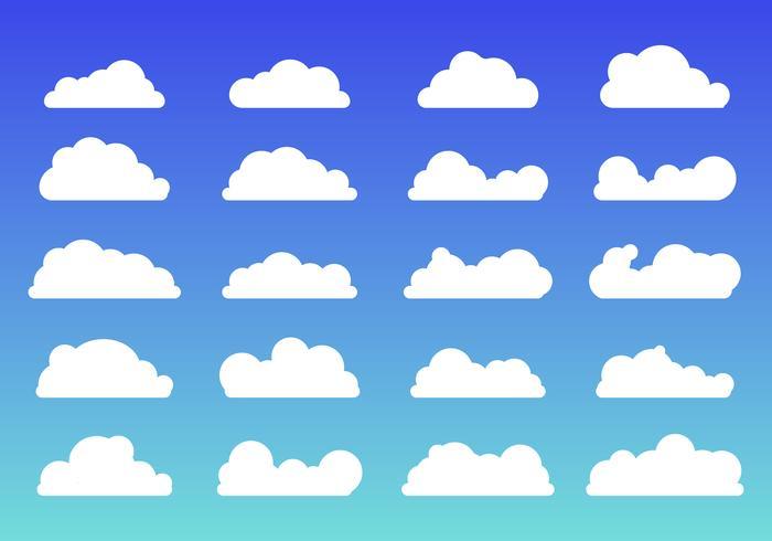 Reeks van de witte vlakke stijl van wolkenpictogrammen op blauwe achtergrond. Wolkensymbool of logo, anders voor uw websiteontwerp, logo, app, UI vector