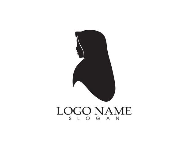 Hijab vrouwen zwart silhouet vector iconen app