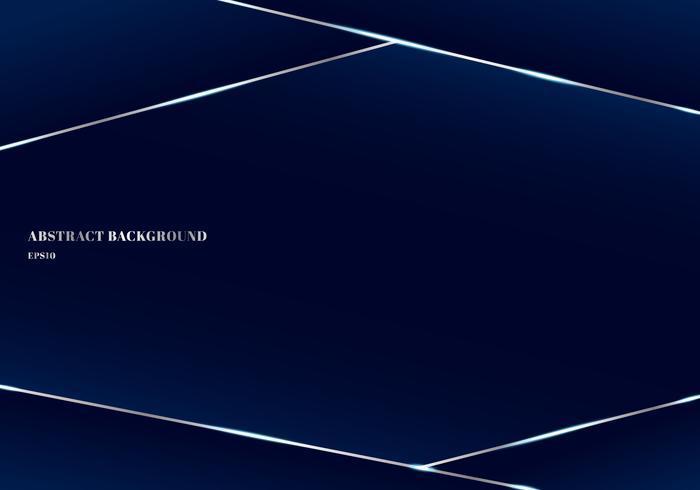 Abstracte sjabloon geometrische driehoek en zilveren achtergrond van de lijnen donkerblauwe premie. Lage polyvormen en luxestijl. U kunt gebruiken voor brochure, poster, leaftlet, bannerweb, presentatie, boek, jaarverslag, etc. vector