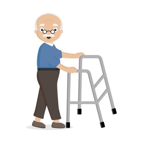 Oude man met behulp van helper wandelaar. vector