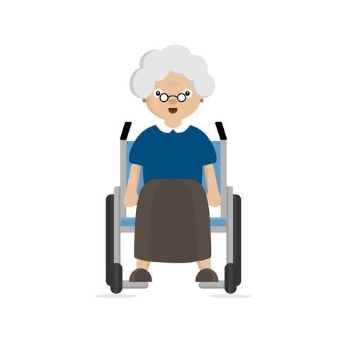 Oude vrouw uitgeschakeld in rolstoel vector