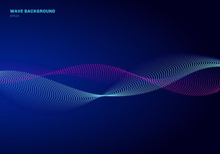 Abstract netwerkontwerp met deeltjes blauwe en roze golf. Dynamische deeltjes geluidsgolf stroomt op gloeiende stippen donkere achtergrond. vector