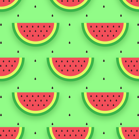 Watermeloen snijdt naadloze patroon vector