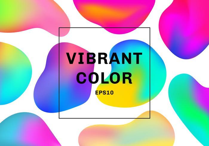 Set van 3D-vloeibare of vloeiende vormen kleurovergangselementen levendige kleuren achtergrond. vector