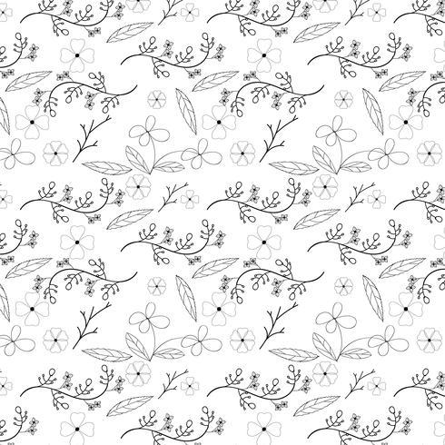Bloem en wijnstok naadloos patroonontwerp op witte achtergrond, vectorillustratie vector