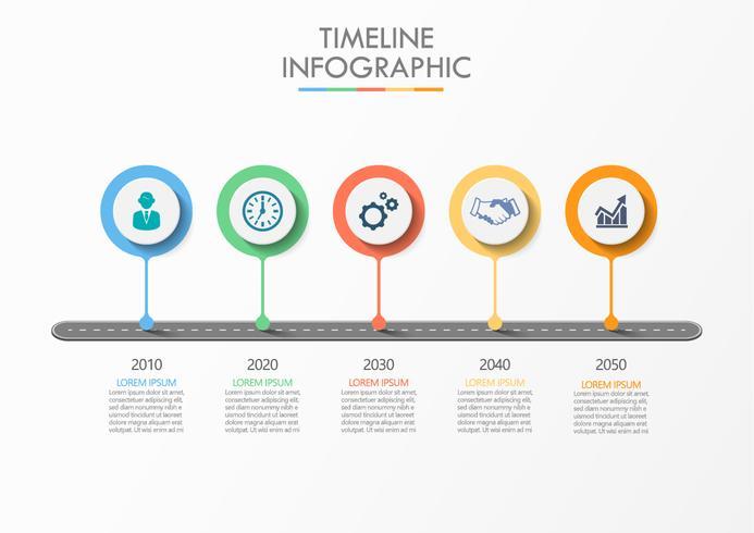 Zakelijke wegenkaart. tijdlijn infographic pictogrammen ontworpen voor abstracte achtergrond sjabloon met 5 opties. vector