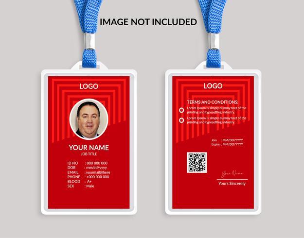 Rode mooie identiteitskaartsjabloon 19 vector