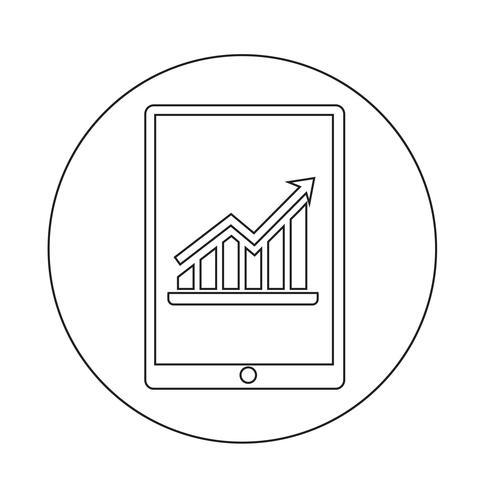 Grafiek in tablet pc-pictogram vector