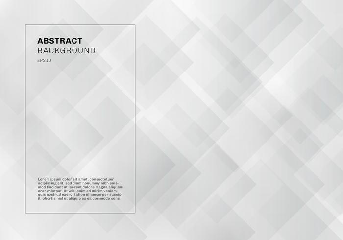 Abstracte elegante geometrische vierkanten overlappende witte en grijze kleuren achtergrondtechnologiestijl. vector