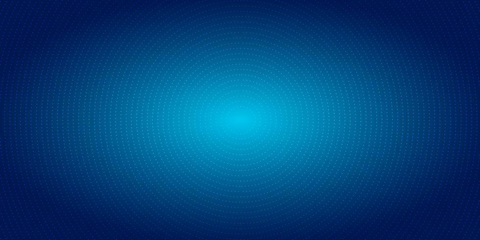 Abstracte radiale halftone puntenpatroon op blauwe gradiëntachtergrond. Futuristische neonverlichting van het technologie de digitale concept. vector