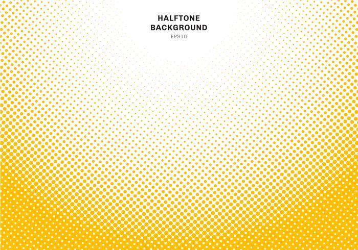 Abstract geel halftone radiaal effect op witte achtergrond. Vintage of retro grafische stijl. vector