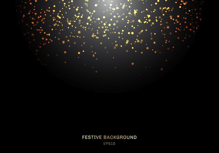 Het abstracte gouden vallen schittert lichtentextuur op een zwarte achtergrond met verlichting. Magisch goudstof en schittering. Feestelijke kerst achtergrond vector