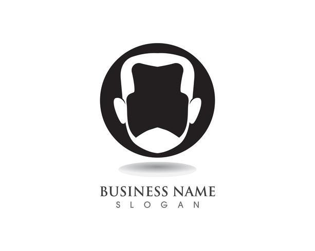 mannelijk baard zwart haar geek logo en symbool vector