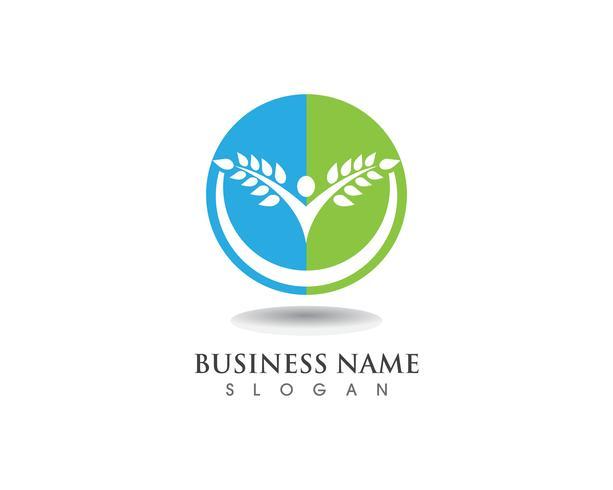 Boom groene mensen identiteitskaart vector logo