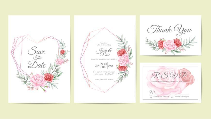 Aquarel Floral Frame bruiloft uitnodiging kaarten sjabloon Set. Hand Tekening bloem en takken Bewaar de datum, groet, bedankt, en RSVP-kaarten Multipurpose vector