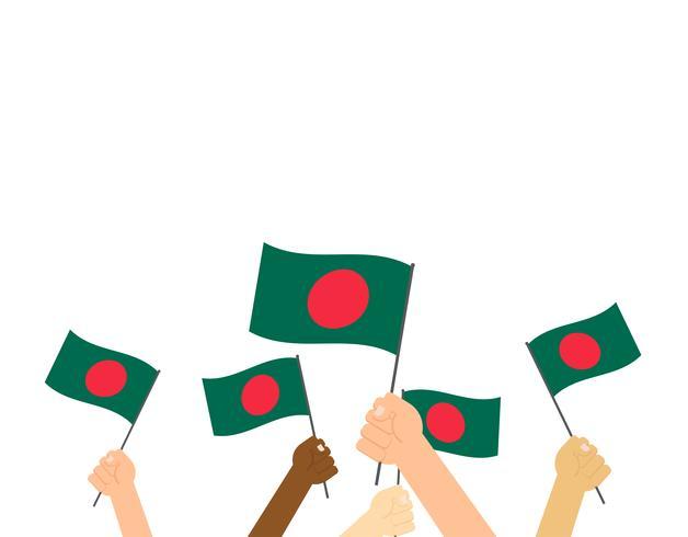 Hand die Bangladesh-vlaggen houden die op witte achtergrond worden geïsoleerd vector