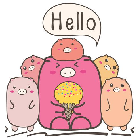 Leuke cartoon varkens familie. vector