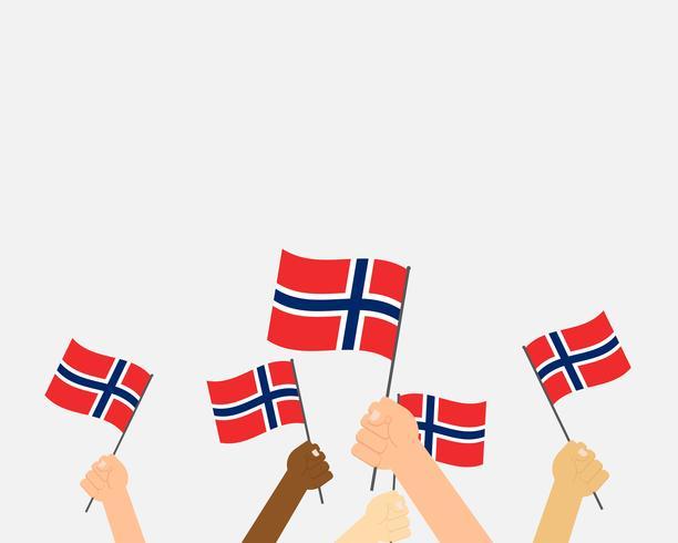 Vectorillustratie die van handen Noorwegen vlaggen houden die op achtergrond worden geïsoleerd vector