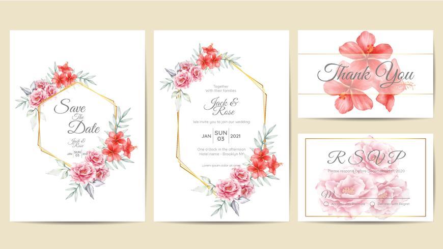 Aquarel bloemen bruiloft uitnodiging sjabloon gouden Frame. Hand tekening rozen en Hibiscus bloem met takken Save the Date, groet, bedankt en RSVP-kaarten Multipurpose vector