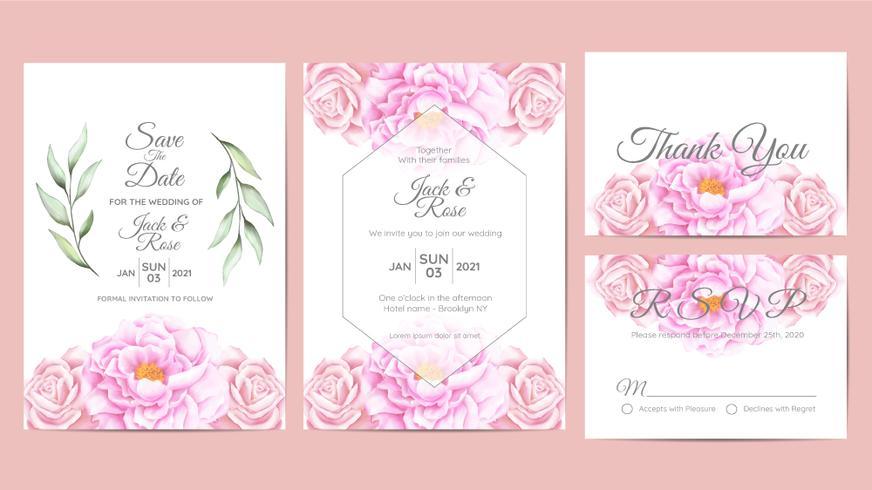 Mooie aquarel bloemen bruiloft uitnodiging kaarten sjabloon. Bloem en takken Bewaar de datum, groet, bedankkaart en RSVP-kaarten multifunctioneel vector