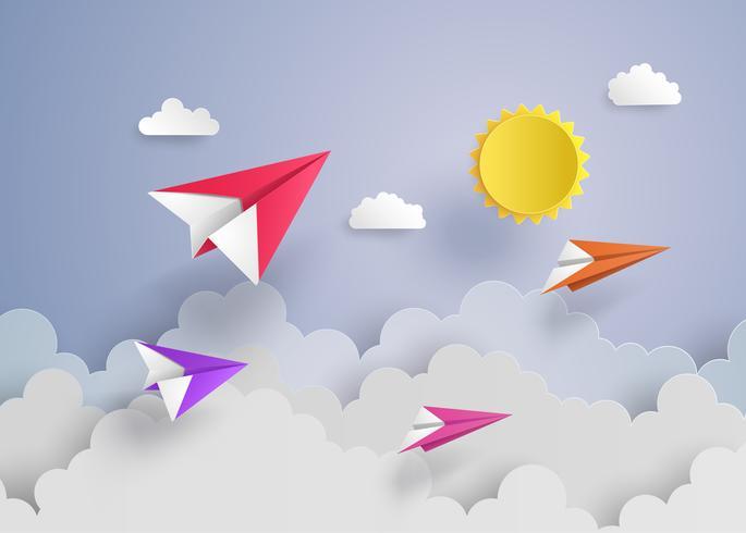 papieren vliegtuig op blauwe hemel vector